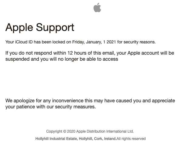 2021-01-07 Apple Phishing Spam-Mail