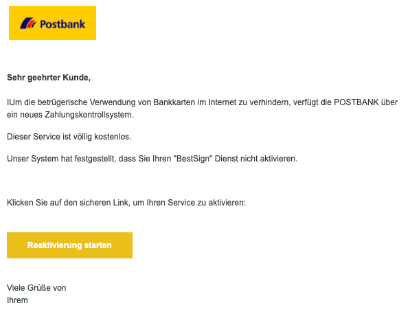 2021-01-13 Postbank Spam Fake-Mail