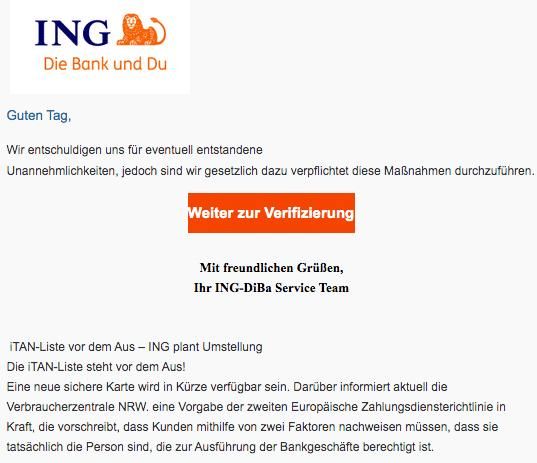 2021-01-15 ING Fake Spam-Mail Mitteilung