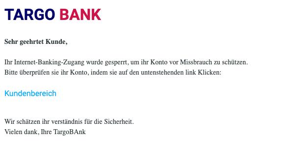 2021-01-22 Targobank Spam Fake-Mail