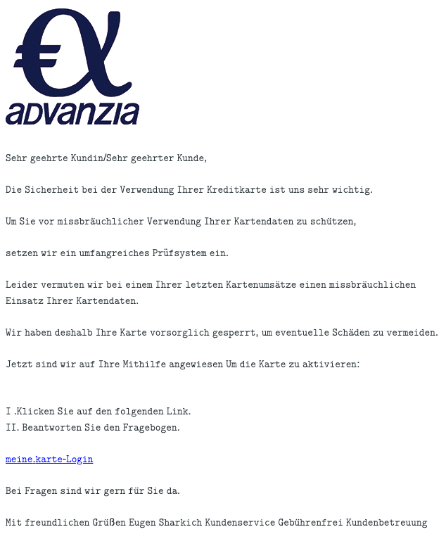 2021-01-29 Advanzia Spam Fake-Mail