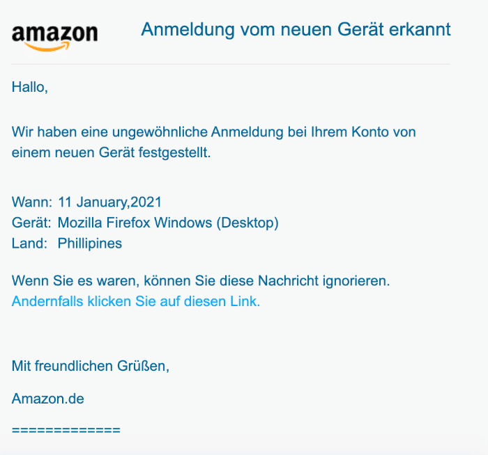 Amazon Spam Fake-Mail