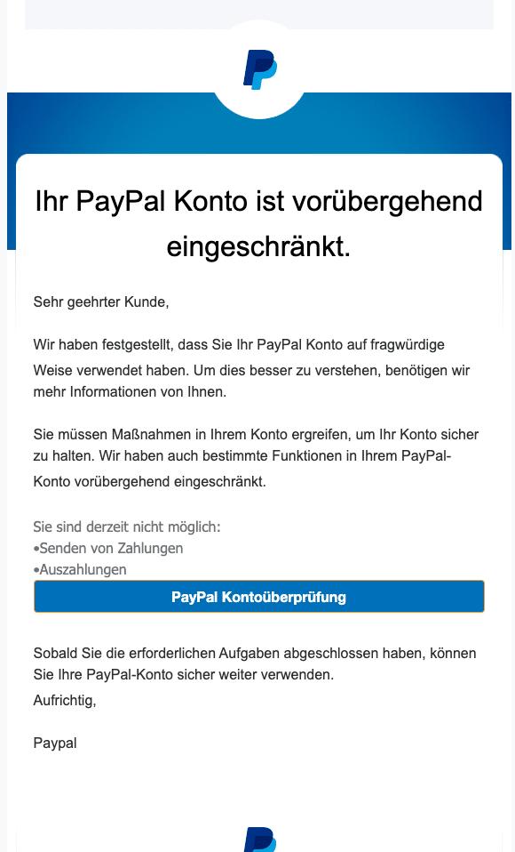 2021-01-07 PayPal Spam-Mail Konto eingeschrankt