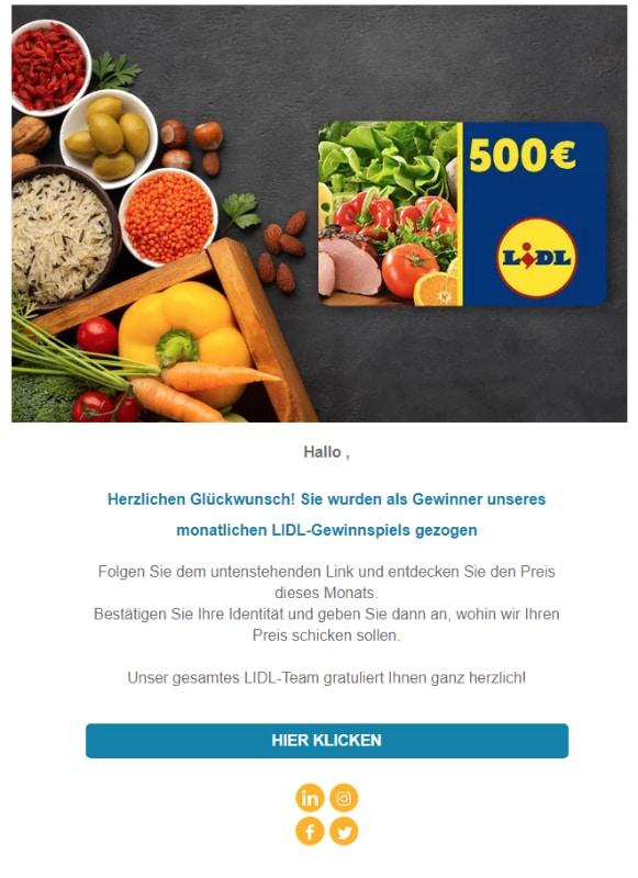 2021-01-08 Lidl Spam Fake-Mail Haben Sie diese Informationen erhalten