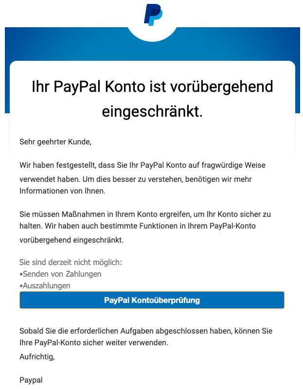 2021-01-08 PayPal Fake-Mail Konto eingeschrankt