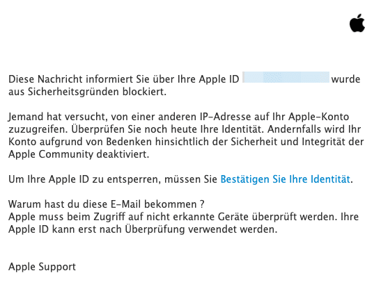 2021-01-11 Apple Phishing Mail