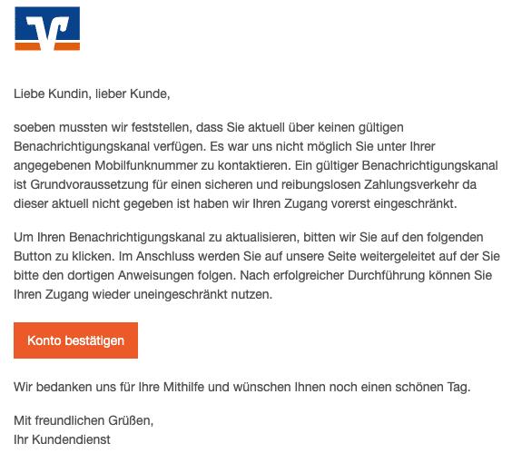 2021-01-13 Volksbank Spam Fake Kein gueltiger Benachrichtigungskanal