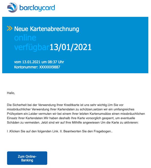 2021-01-14 Barclaycard Spam Fake-Mail Abrechnung