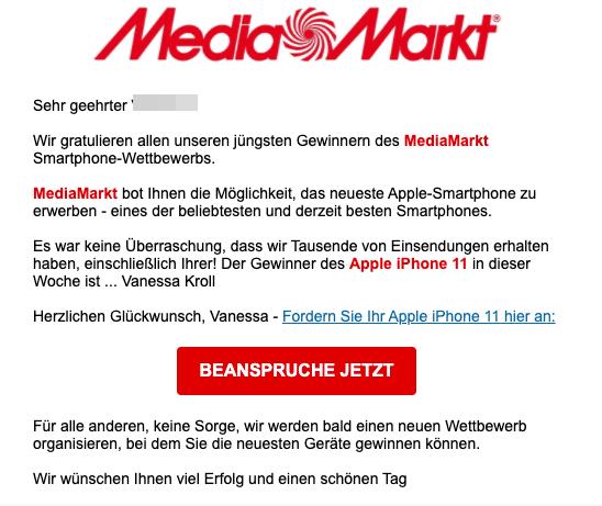 2021-01-15 Media Marke Spam Mail Gewinner