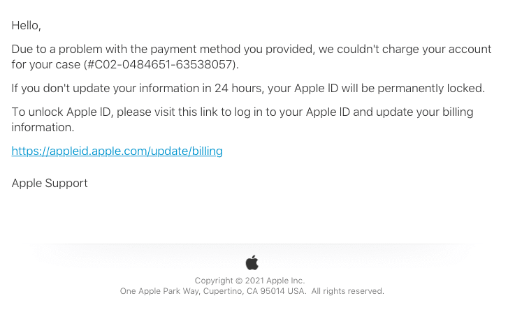 2021-01-16 Apple Spam Fake-Mail