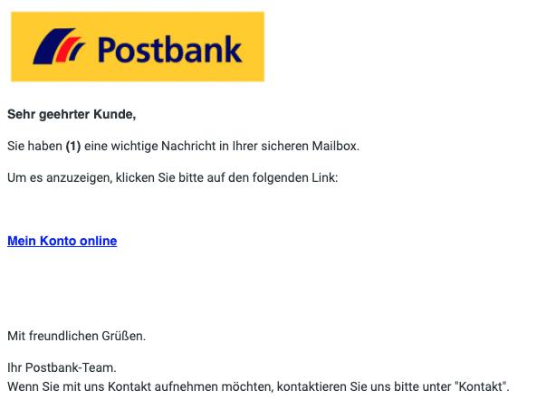 2021-01-21 Postbank Spam-Mail Fake Neue Nachricht