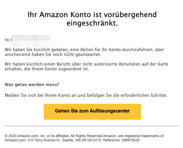 2021-01-22 Amazon Spam-Mail Phishing