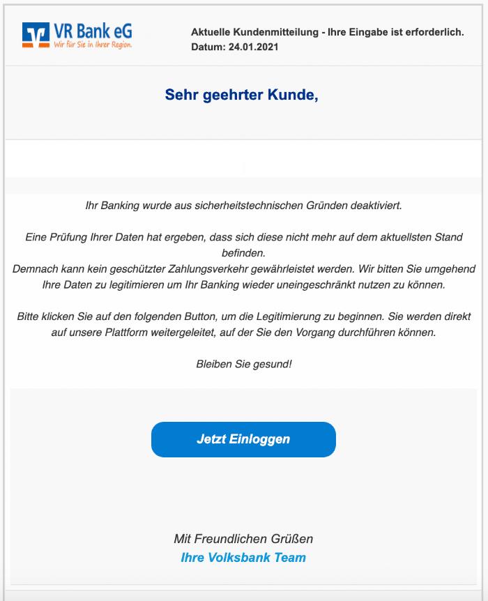 2021-01-25 Volksbank Fake Spam-Mail