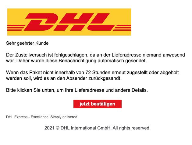 2021-01-29 DHL Spam Fake-Mail