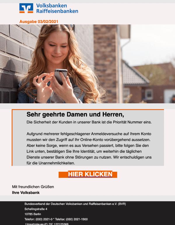 2021-02-03 Volksbank Spam Fake-Mail
