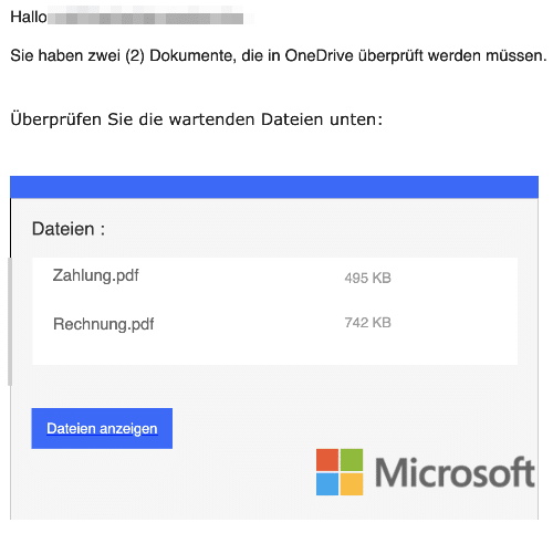 2021-02-05 Microsoft Spam Phihsing-Mail