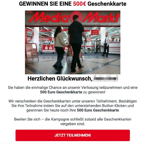 2021-02-09 Media Markt Spam Fake-Mail