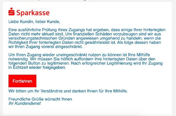 2021-02-04 Sparkasse Spam Fake-Mail