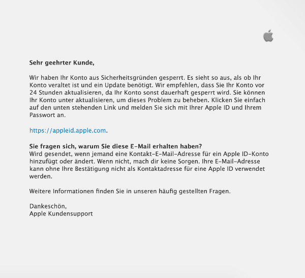 2021-02-09 Apple Phishing Spam-Mail