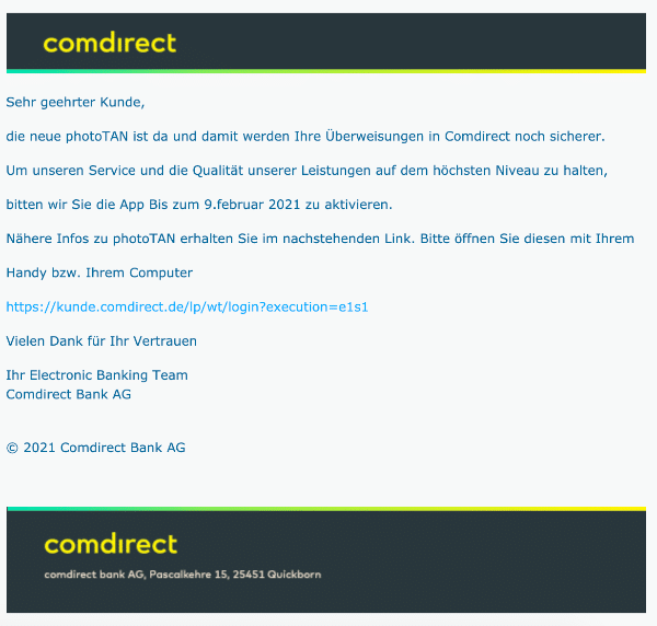2021-02-09 Comdirect Spam Fake-Mail