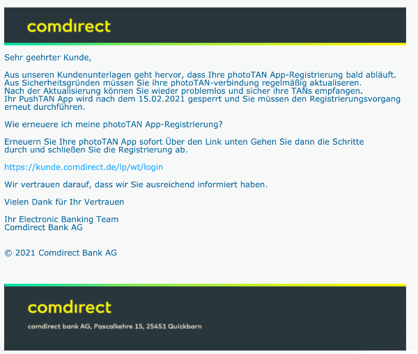 2021-02-10 Comdirect Spam Fake-Mail