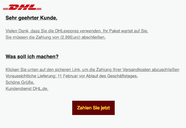 2021-02-10 DHL Spam Fake-Mail