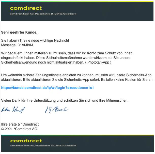 2021-02-12 Comdirect Spam Fake-Mail