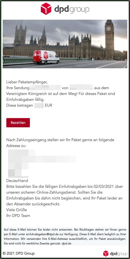 Entwarnung DPD Mail Vereinigstes Koenigreich