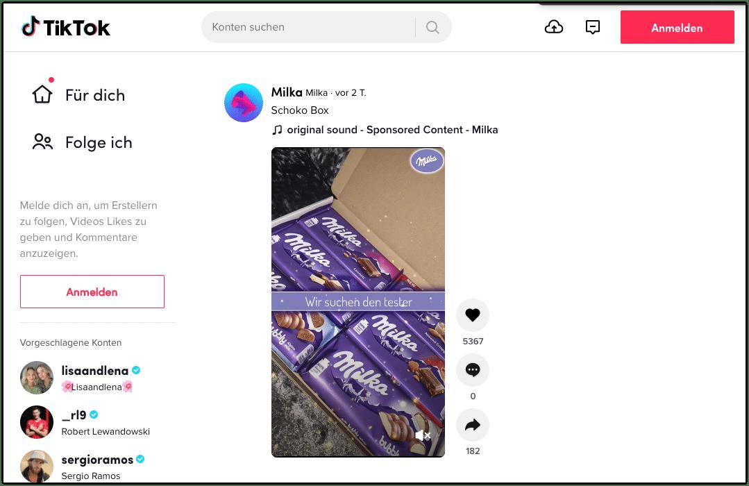 Milka Werbung TikTok