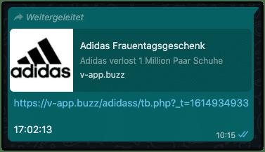 2021-03-05 WhatsApp Kettenbrief Adidas Schuhe