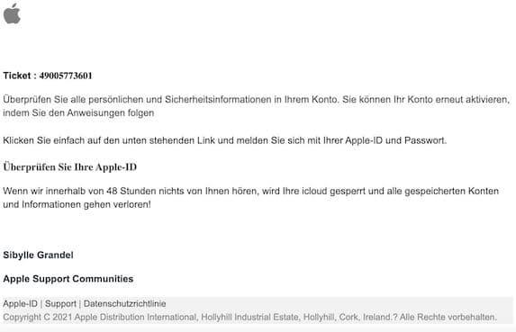 2021-03-26 Apple ID Spam