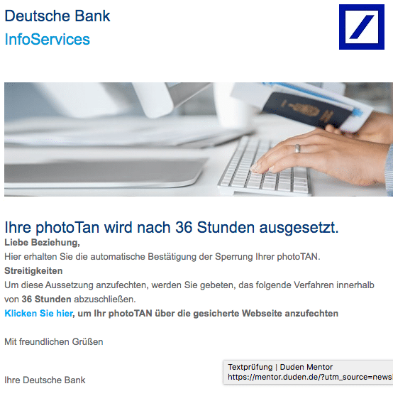 2021-03-30 Deutsche Bank Spam Fake-Mail
