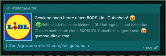 Kettenbrief Lidl 500 Euro WhatsApp
