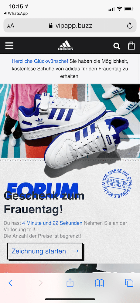 WhatsApp Kettenbrief Adidas Schuhe 1