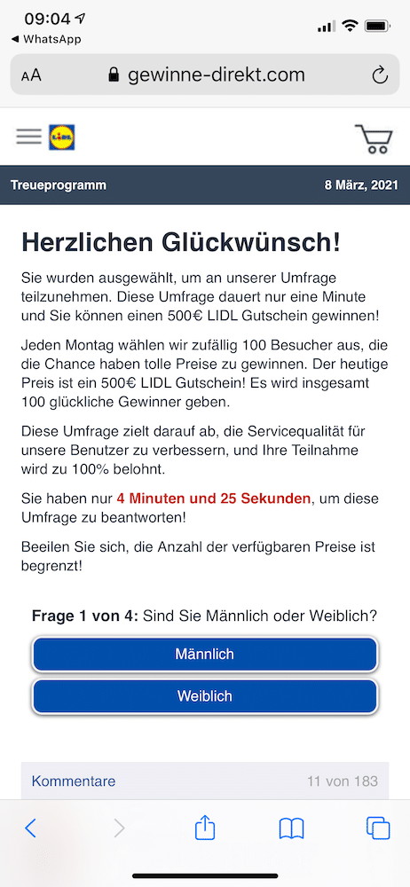 Lidl Gutschein Fake Whatsapp