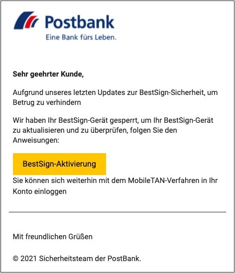2021-09-07 Postbank Spam